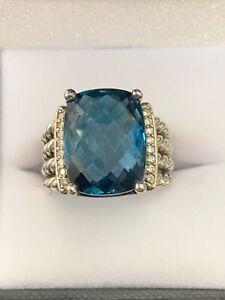 David Yurman Petite Wheaton 16x12MM Blue Topaz and Diamonds ring size 7