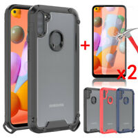 For Samsung Galaxy A11 Case Shockproof Armor Case Cover+Tempered Glass Protector