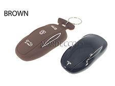 NUOVO PORTACHIAVI SMART in Silicone Protector Case COVER CON PORTACHIAVI TESLA Model S Marrone