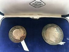 More details for investiture of prince charles 1969 john pinches 2 silver proof medal set