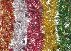 2.1M (7FT) Tinsel Christmas Tree Decorations Xmas Star Garland 5 Colours