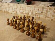 """LARGE 4"""" REPRODUCTION ANTIQUE CHESS SET/PIECES,4 QUEENS,STAUNTON STYLE WOODEN"""