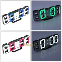 3D Table Desk Night Wall Digital LED Clock Alarm Watch 24/12 Hour Display Home