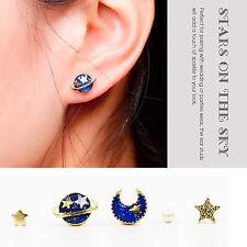 5x/Set Mini Retro Planet & Moon & Star & Pearl Universe Enamel Ear Stud Earring