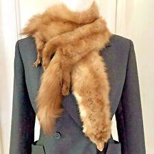 Vintage Stone Marten / Mink Fur Stole Shawl Boa Wrap 4 Pelts w Bakelite Chain