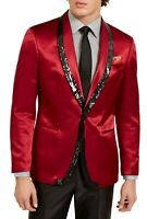 Tallia Mens Suit Separate Red Size 46 Satin Sequin Slim Fit Blazer $350 #212