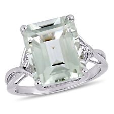 Amour Sterling Silver Green Amethyst and White Topaz Cocktail Ring