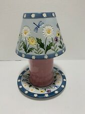 Yankee Candle Shade Topper and Matching Plate Floral Flower Butterflies Blue