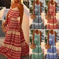 Boho Lady Dress Beach Sundress Sleeeveless Summer Long Holiday Dress Plus S-5XL