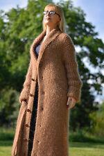 DUKYANA Hand Knit Mohair cardigan Shawl collar ROBE Fuzzy sweatercoat relaxed