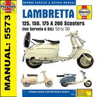 SCOOTER LAMBRETTA li125 li150 TV175 tv200 200GT 1958-2000 haynes manuel M5573