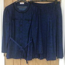 Ladies PAUL MAUSNER Blue & Green Twin Set Blouse & Pleated Skirt Suit Size UK 20