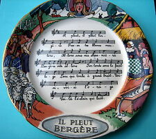 RARE ANTIQUE ''IL PLEUT BERGERE''POTTERY PLATE.MADE IN FRANCE.