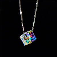 "Aurora Borealis Necklace Made with Swarovski Crystals 18"" with 1/2"" extender"