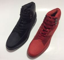Men's SIO MELKOR Black & Red Smooth Lace Up Sneaker Boot High Top Air Bottom New