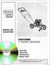 "Sears Craftsman 9"" Edger Trimmer Owner's Manual Model # 536.87090 on CD"