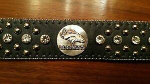 Denver Broncos Ladies Leather Belt Rhinestone Fancy Style Glitz Large