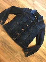 Coldwater Creek Womens Dark Blue Stretchy Jean Denim Jacket Blazer P4-6 Petite