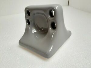 Silver Ceramic Soap Dish Tray Toothbrush Tumbler Cup Holder Suede Gray Smoke