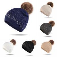 Fashion Winter Knit Hat for Women Girls Warm Bling Bling Rhinestones Crochet Hat