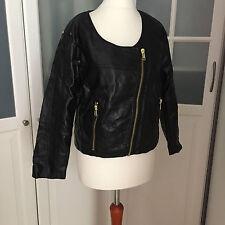 H&M Lederjacke Damen Jacke Kunstleder schwarz Goldreissverschlüsse Gr. 42 US 12