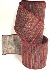 "Dupion Wired Ribbon~Burgundy,Platinum Metallic Threads,Multi Color~4"" Wx10 yd"