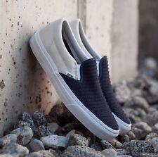 VANS Classic Slip On (Suede Woven) Navy Blue/True White WOMEN'S 8