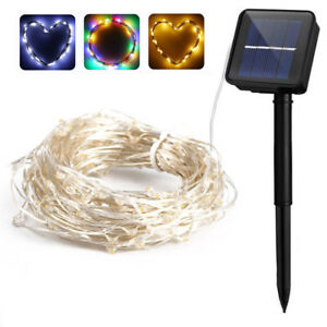 100LED 10M Solar Copper Wire Lights String Strip Waterproof Fairy Light Outdoor
