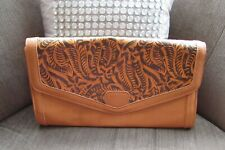 Atmosphere Faux Leather Tan Floral Etched Clutch Bag