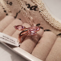 Beautiful Rose De France Amethyst Trilogy Ring in rose gold over Sterling Silver