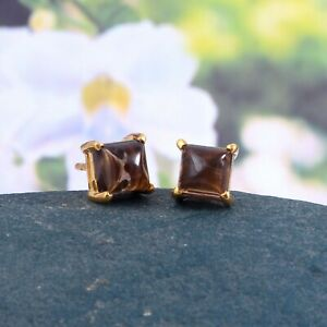 Smoky Quartz Stud Earrings Dainty Tiny Simple Minimalist 18k Gold Plated Silver