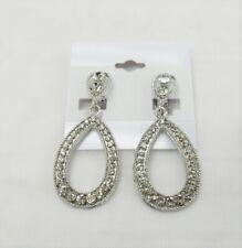 Silver Plated Rhinestone Crystal Dangle Drop Teardrop CLIP ON Earrings  #0492