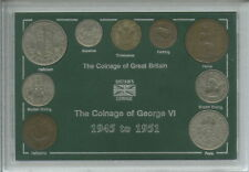 More details for 1945-1951 king george vi second type great britain coin collector cased gift set