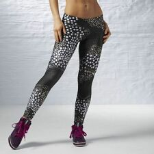Reebok Womens Les Mills Faux Stud Leggings in size L (Black/Grey)