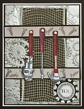 Thinking of You - MASCULINE - TOOLS and gears - handmade card by DEE