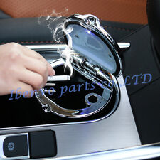 Silver Stainless Steel Lid Car Interior LED Water Cup Slot Cigarette Ashtray Box