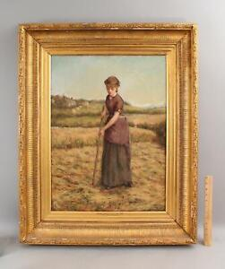 Antique Signed Minshull Hay Farm Farming Woman Portrait Painting Gilt Frame