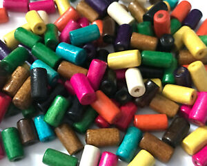500 pcs 12mm Multi Color Assorted Colors Wood Beads Bead Macrame Cylinder 7s