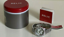 NEW! RELIC MERRITT STAINLESS STEEL CRYSTALS-ACCENT BOYFRIEND BRACELET WATCH $80