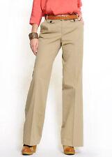 Pantaloni da donna beige a gamba larga