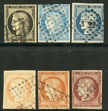 FRANCE LOT OF SIX 4 AND 3 MARGIN CLASSIC USED  STAMPS FREE OF HINGES