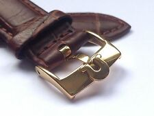 18MM OMEGA GENUINE LEATHER WATCH STRAP BROWN GOLD PLATED BUCKLE.(S6).