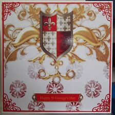 HANDMADE MEDIEVAL ST GEORGE'S DAY CARD WITH PATRIOTIC SHIELD DESIGN
