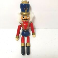 Nutcracker Ornament Wooden Moveable Red Painted Christmas Holiday Tree Decor Euc