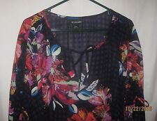 Women's Lane Bryant Top Pullover 3/4 Sleeves  Sheer Size 26/28 100 % Polyester