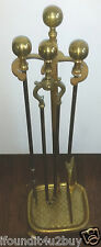 Vintage Brass Finish 4 Piece Fireplace Tool Set
