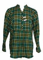 Joan Rivers Women's Top Sz 10 Long Sleeve Pull Over Plaid Shirt Green A371767