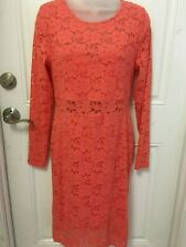 Women's Dress Material Girl Shell Porcelain Doll Salmon Floral Lace Size L NEW