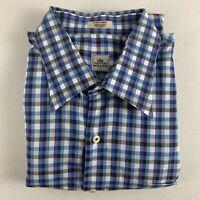 Peter Millar Mens XL Blue Shirt Checker Plaid Button Collar Dress Long Sleeves