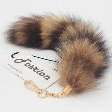 "10"" America Raccoon Tail Fur Leather Handbag Accessory Key Chains Rings Hook Toy"